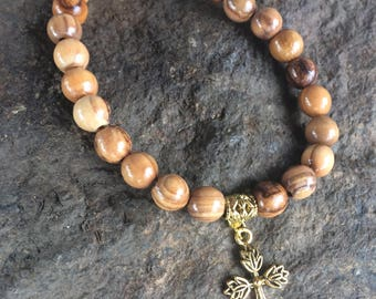 Have Faith- olive tree wood beads