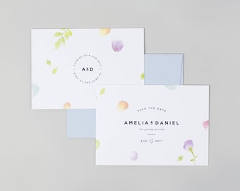 Watercolour Save the Date Card, Floral Save the Date, Pastel Save the Date card, Modern Save the Date card, Luxury Save the Date, minimal