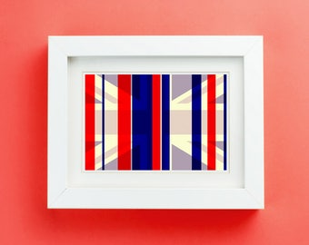 Cool Britannia Art Print Unframed'  -Retro take on the Union Jack Flag British Emblem Btitish Monarchy Crown Queen Elizabeth - P&P WORLDWIDE