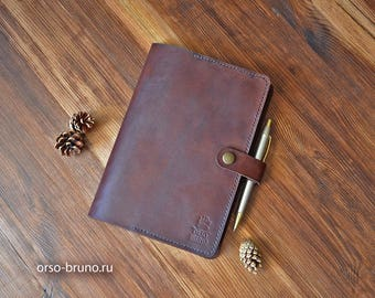 Leather notebook cover A5, Moleskine cover A5, Journal cover, A5 leather portfolio, Leather notebook case A5, Brown A5 leather holder.