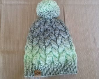 Braided cable hat, cable knit beanie, ombre hat, pom pom beanie, ski hat, two tone color hat, knit hat