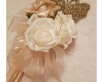 Gold and Ivory Flower Girl wand