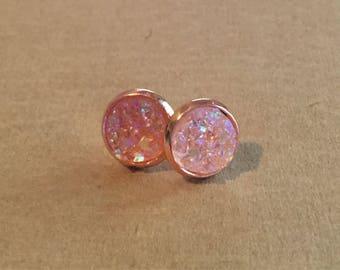 Crystal Druzy Earrings - Rose Gold Setting