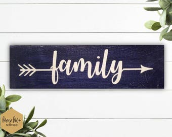 "family wood arrow sign, 12""x3.5"", wall decor, home decor, gallery wall, blue distressed sign, home decor signs, small sign, shelf sign"