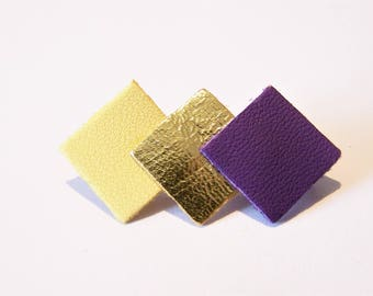 Pin 3 squares of yellow ochre, gold leather and purple