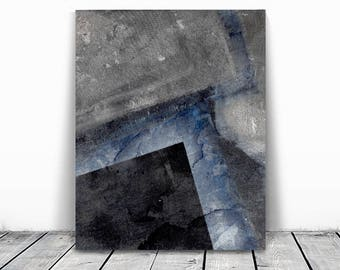 contemporary art, home decor, wall art abstract, silver blue gray black  abstract,  minimalism art, geometric abstract, textile art