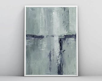 Abstract Landscape Painting,white and mint Print, Coastal Print, Minimalist Painting, Pastel Abstract, Large Canvas Art, Modern Abstract Art