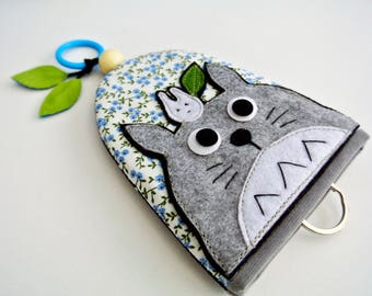 Guardian Totoro Fabric Key Cover, Key Bag, Key Organizer, Key Fob Holder, Key Case, Key Fob Cover, Gift for Girls, Made to Order