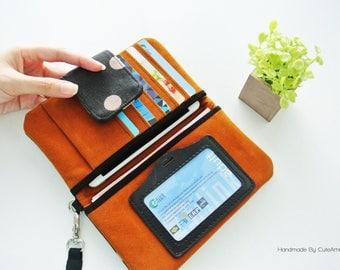 Classical Polka-dot Wristlet Wallet, Smartphone Wristlet, Vegan Bi-fold Wallet, Organized Purse, Iphone Wallet, Passport Wallet, ID Wallet