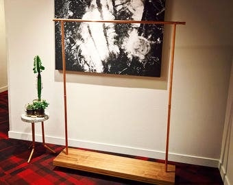 Garment rack - Walnut plywood and copper pipe - discounted