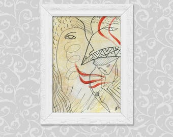 Original paintings DIN A6 abstract art, painting drawing