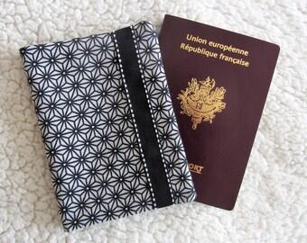 Passport asanoha yellow Japanese fabric black and grey