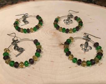 Mardi Gras/Carnival/New Orleans/NOLA/Purple/Green/Gold/Mask/Fleur de Lis/Hoop Earrings/Silver Plated/Gift For Her/Handmade