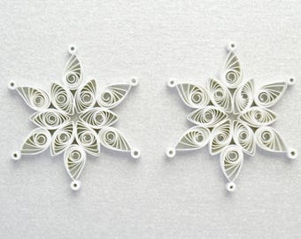 Mini Christmas decorations set of 2,  Quilled snowflake, Paper quilling decoration, Christmas tree ornaments, Holiday ornament