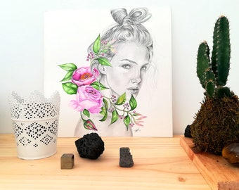 Illustration, girl, flowers, portrait, cool girls, ilustración, original, wall decor, home decor, wall decor