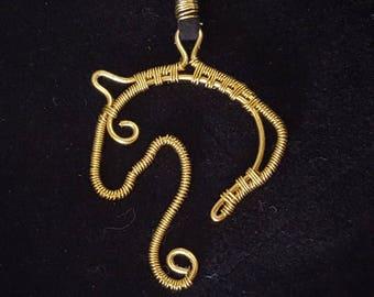 Horse head necklace brass wirewrap jewelry