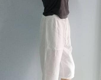 Quality Shorts  Capris Summer Beach Chic Pockets Linen Look  White