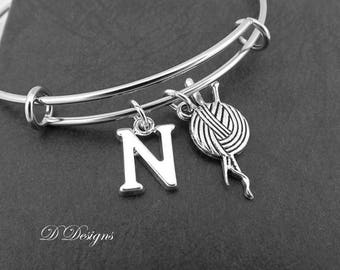 Knitting Bangle, Knitting Bracelet, Personalised Bangle, Crafter Bangle, Personalised Knitting Gifts, Knitting Jewellery, Gifts for knitters
