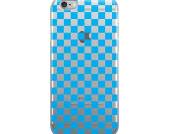 Blue Checkerboard Pattern iPhone Case