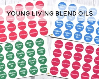 Young Living Inspired Essential Oil Label Stickers - BLENDS Q-Z