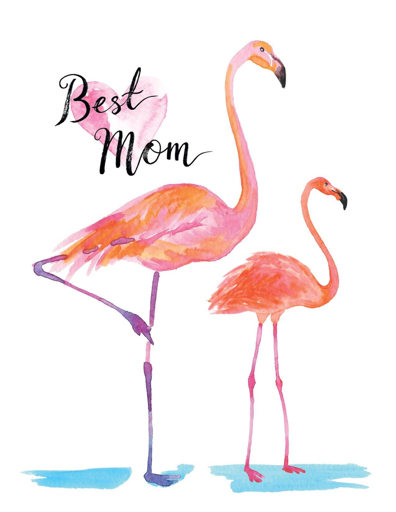 Best Mom Greeting card postcard Flamingo Digital Happy Mother s