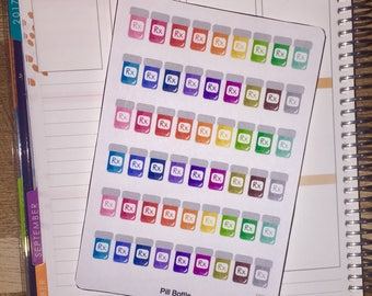 Rainbow Prescription Pill Bottle Planner Stickers for use with Erin Condren Planner and other planners
