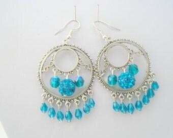 Teal Crystal earrings, Shamballa earrings, Crystal Chandelier earrings, Large Statement earrings, Boho earrings, Gypsy Earrings, Gift