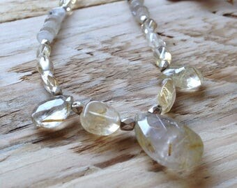 Rutilated quartz and citrine necklace | Beautiful hand-strung gemstone bead necklace | Recycled packaging.