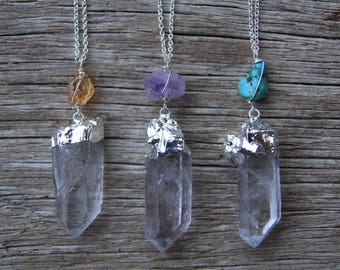 Silver Clear Quartz Necklace