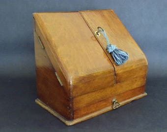 Antique Letter Holder - File Storage Box - Victorian Mahogany Stationary Cabinet - Home Office Desk Organizer - Antique Furniture UK 1900s.