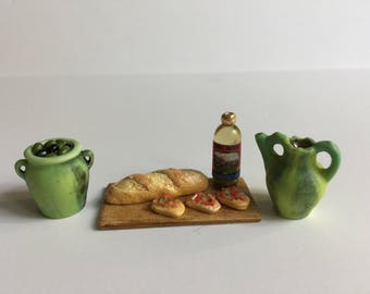 Miniature Dollhouse 1:12 Scale Italian Kitchen Breads Olives and Wine