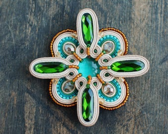 Soutache brooch, Green, beige, turquoise and gold brooch, Embroidered brooch, Beaded brooch, Soutache jewelry, Gift for her, FREE SHIPPING