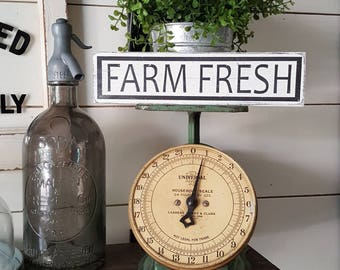 Farm Fresh. Kitchen decor. Rustic sign. Shelf Sitter.