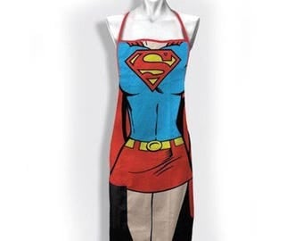 Supergirl Apron Comic Character Apron With Pocket Kitchen  or Craft
