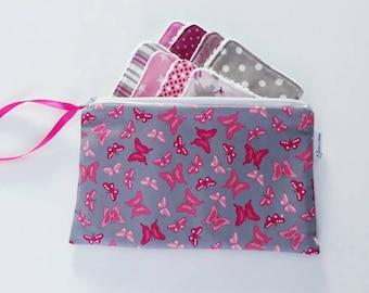 Lot de 8 lingettes demaquillantes lavables et leur trousse coordonnée Papillons rose et gris