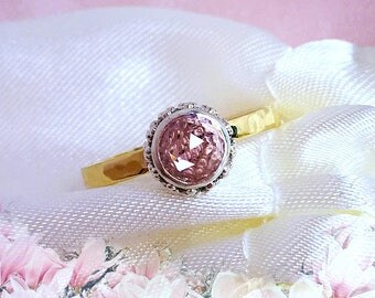 Morganite ring, Peach Pink Morganite Crown ring, 9ct Rose gold ring, Engagement & Promise ring, handcrafted ring