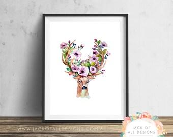 Floral Deer Watercolour - Wall Art Print