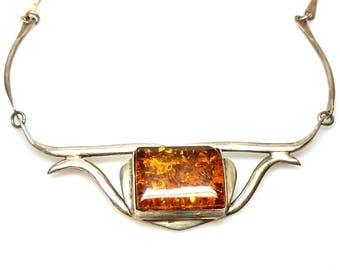 """Vintage 1960s Mid-Century Modern Sun-Spangled Amber and Sterling Silver Modernist 18"""" Princess Necklace"""