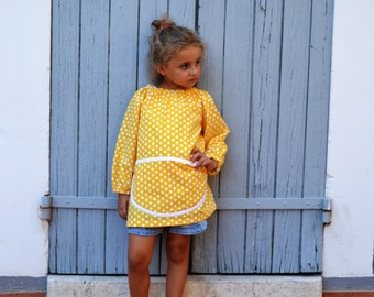 Art Smock 2-4 Years Long Sleeve 100% Cotton Painting Apron Yellow with White Polka Dots Tablier Filles Ecolier Manches Longues Maternelle