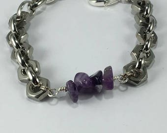 Handmade Genuine Purple Amethyst Stainless Steel Hex Nut Bracelet Stainless steel bracelet Hex nut bracelet Men's Amethyst bracelet jewelry