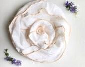 Blush Pom Swaddle/ Heirloom swaddle /Swaddle Blanket / Boho Blanket / Newborn Blanket / Newborn Baby Blanket
