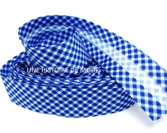 1 meter of blue and white gingham bias - 20 mm folded