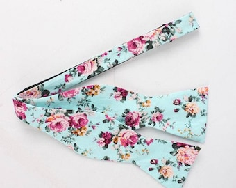 Men's Aqua And Pink Red - Self Tie Bow Tie| Flower | Self Tie | Bow Tie | Bowtie | Floral | Wedding | Groom | Gift | Ideas | for him