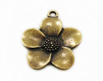 Bronze Flower Pendant, 33x28 Flower Pendant, Bronze Pendant, Craft Supplies, Metal Flower Pendant, Jewelry Making
