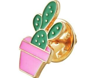 Enamel cactus pin, succulent in hot pink pot flair button, petite size