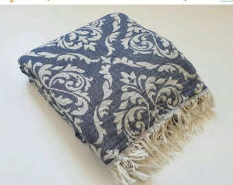 SALE UltraSoft Towel - Stonewashed Cotton Fouta Towel - Denim Blue Beach Blanket - Sofa Throw - Luxurious Home Linen - Fringed throw towel