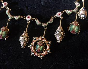 Mosaic Beetle Necklace