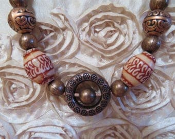 Copper toned leather beaded strand necklace