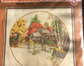 Vintage Kit Sunset Stitchery , 1978 Fall Mill Pond, pure wool embroidery,  watermill in Autumn