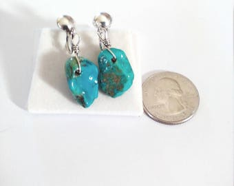 Vintage Sterling Silver Turquoise Nugget Earrings